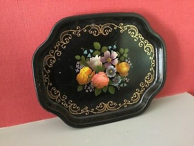 Vintage Floral Small Serving Tin Tray Made In England