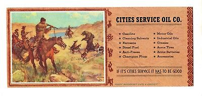 Vintage Ink Blotter Adv. Cities Service Oil Co. Teddy Roosevelt & Grizzly Bear