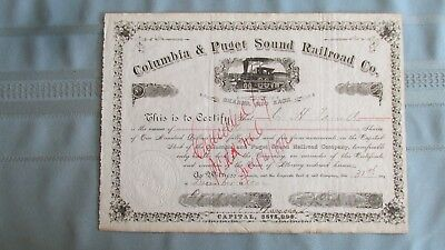 1902 Columbia & Puget Sound Railroad Company Stock-Steam Engine-Issued-Signed