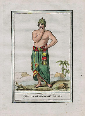 1780 - Java Indonesia island people costume engraving antique print Asia asian