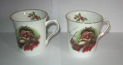 Lot of 2 Vintage Queen's Rosina Christmas Old St Nicholas Coffee Mugs