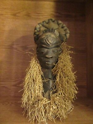 Pende Mask (bearded) African tribal art Congo wood straw good condition