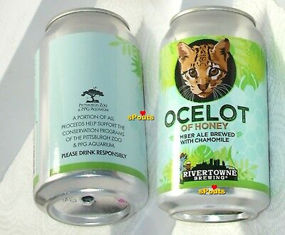 Ocelot Kitten-Cat Amber Ale Micro Brew Beer Can Pittsburgh,pa Skyline River-Town