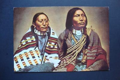 410) Native American Sioux Indians ~ Man On The Hill & His Wife ~ By L A Huffman