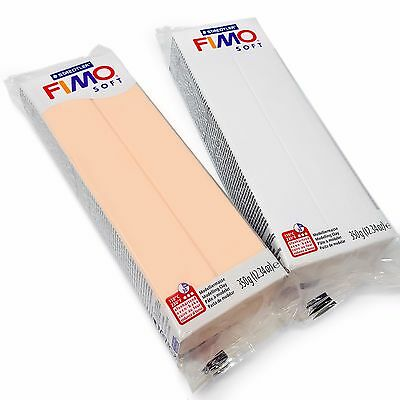 FIMO Soft 350g Polymer Modelling Clay - Oven Bake Clay - White and Flesh Set