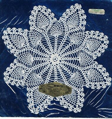 """Vintage OREM HAND MADE LACE D'OYLEY (Doily) Unused & new in packaging 8x8"""""""