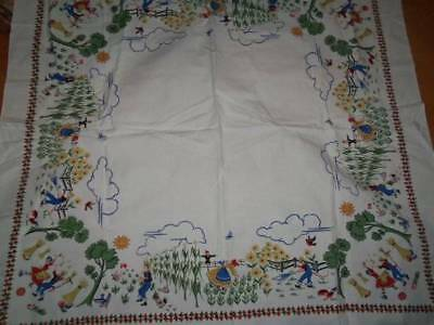 Vintage Tablecloth 50s scarecow chickens dancers corn bails people excellent wow