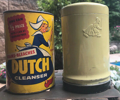Vintage 1955 Old Dutch Cleanser & Canister 14 oz full container Dutch Girl ex co