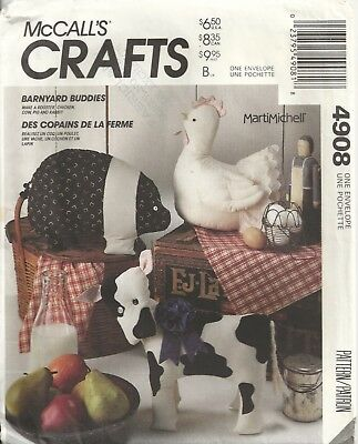 Mccalls 4908 Rooster, Chickens, Cows, Pigs, Rabbits Sewing Pattern Vintage
