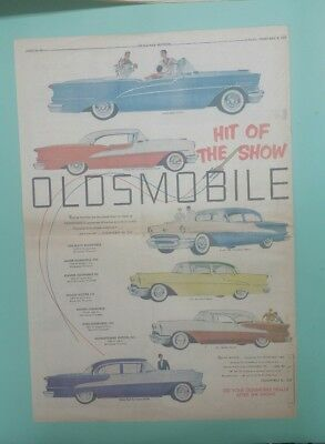 1955 Oldsmobile full line color full page newspaper ad