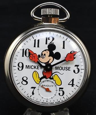 Vintage Bradley 50mm Mickey Mouse Pocket Watch Mechanical Manual Wind