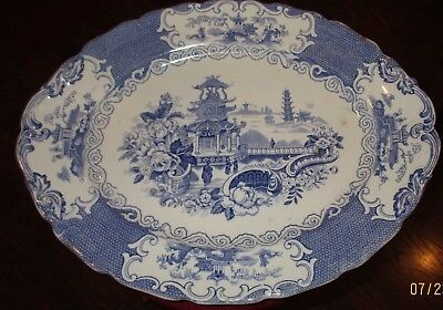 Antique 1900's Large Oval Blue & White Pagoda Platter Allerton's England Chinese