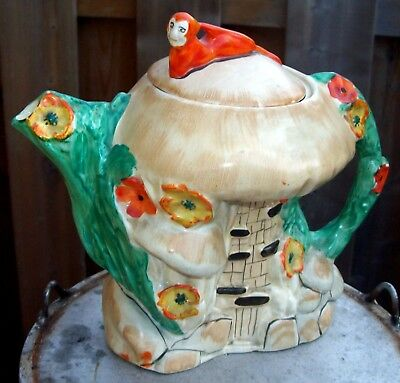 Art Deco Era Arthur Woods Made In England Figural Pixie Gnome On House Teapot