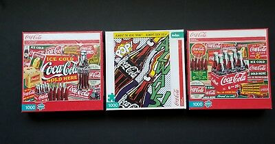 Lot of 3 Coca-Cola puzzles 1000 pieces COMPLETE