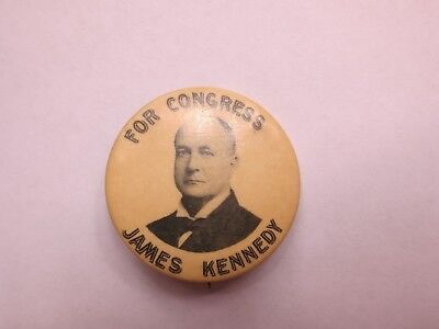 Unusual Size Celluloid Pinback for James Kennedy for Congress from Ohio