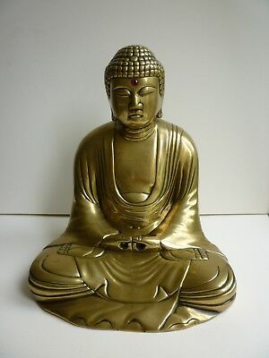 Large Japanese Meiji period Brass Bronze Amida Buddha, c.1850-1899 AD, H:12in.