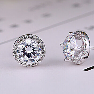 Exquisite Diamond Created Round Halo Stud Earrings 14k White Gold Plated Jewelry