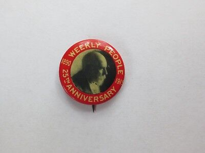 Celluloid Pinback Commemoration Daniel DeLeon & 25th Anniversary of Newspaper