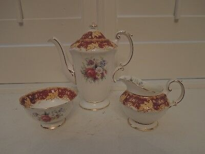 Vintage Paragon Red & Gold Leaf Tea Set Teapot/Coffee Pot Pink Roses