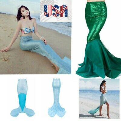 US/_Womens Sequined Fancy Party Costume Mermaid Tail Skirt Long Maxi Dress XMAS