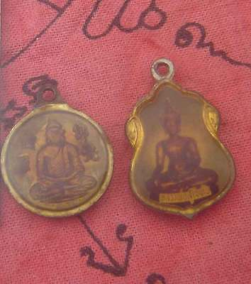2Style Tiny Pendant coin Picture tablet bronze Buddha back Chinese Goddess