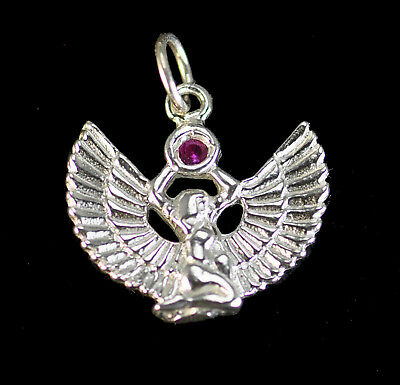 LOOK Egyptian Jewelry WINGED ISIS Ruby stone Sterling Silver .925 Charm Egypt pe