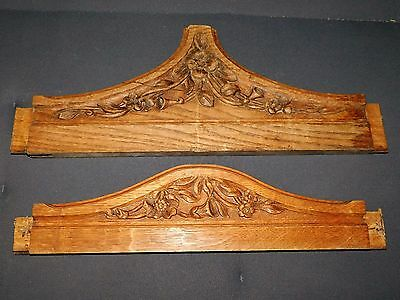 2 Frontons/ornements En Bois Sculpte De Fleurs  Antique Wood Sculpt  F347
