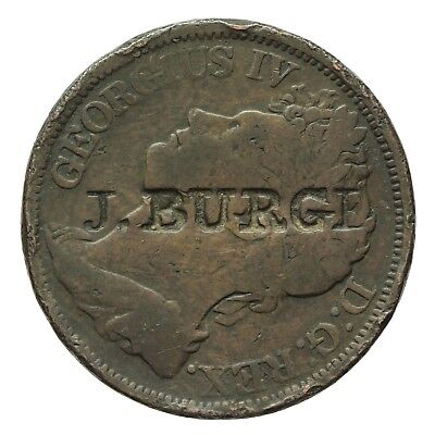 George Iv Countermarked Irish Penny  J Burge