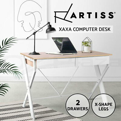 Artiss Computer Desk Metal Study Student Writing Office Table Drawer Cabinet