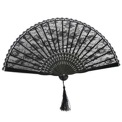 Black Folding Hand Fan Lace Spanish Gothic Victorian Party Favor Fancy Dress