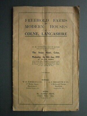 1935 Brochure Auction Sale Of Farms & Houses At Colne, Lancs With Fold-Out Plan