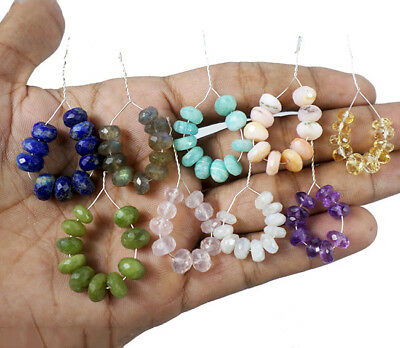 163.70 Ct/9 Lot Natural Multi Gems/Color Mixed Cabochon Center Drilled Beads Lot