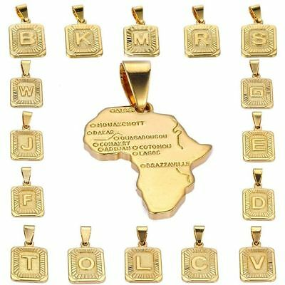 Womens Mens Chain Unisex Yellow Gold Plated GP Initial Letter A-Z Square Pendant