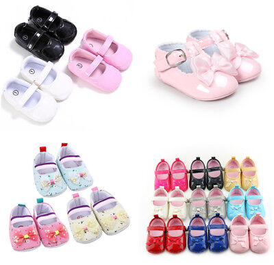 UK Toddler Baby PU Leather Baby Girls Shoes Sandals Prewalkers First Shoes 0-18M