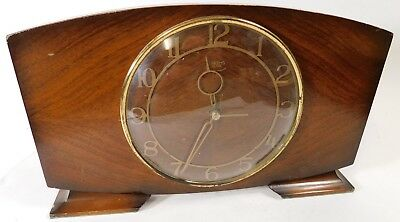 "Vintage Art Deco Smiths Wooden Mantle Clock 6"" diameter face 12"" * 7"" Wood Frame"