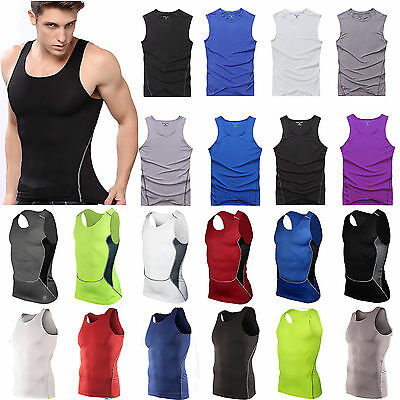 Herren Kompressions Tank Top Ärmellos Shirt Weste Fitness Base Layer Muskelshirt