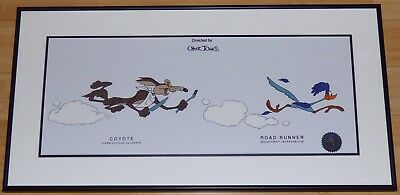 Chuck Jones Looney Tunes Wile E Coyote Roadrunner Beep Beep Framed Sericel
