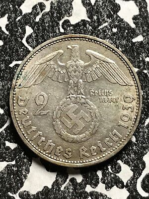 1939-D Germany Third Reich 2 Mark Lot#X6121 Silver!