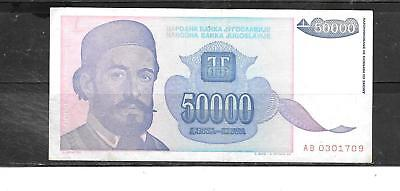 Yugoslavia #130 1993 Vf Used 50000 Dinara Banknote Paper Money Currency Note