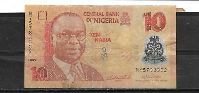 NIGERIA #39a 2009 AG USED 10 NAIRA BANKNOTE PAPER MONEY CURRENCY BILL