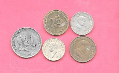 Philippines 5 Diff Different 1968-2004 Coin Lot Collection Set Inc Large & Old