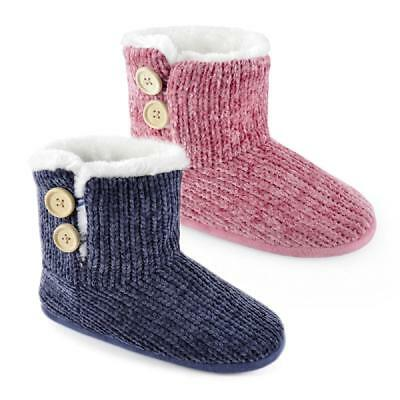 Ladies Chenille Knitted Boot Slippers