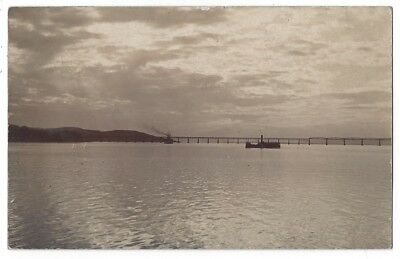 TAY BRIDGE from the River Tay, RP Postcard Postmarked Dundee 1910