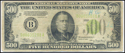 1934 United States $500 Five Hundred Dollars Note Choice Fine Condition ~Rare~