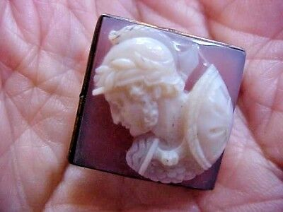 Antique Carved Hardstone Carnelian Agate Cameo Brooch SOLDIER High Relief Detail