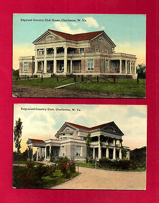 2 Charleston, WV pc, Kanawha Country Club postcard views used in 1912