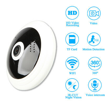 Wireless Mini 360 Degree HD 1080P Panoramic IP Camera Fisheye Security CCTV P2P