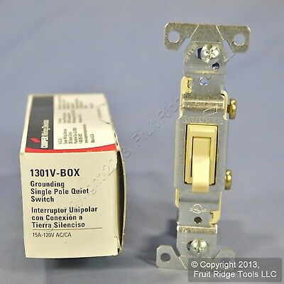 New Cooper Ivory Quiet Toggle Wall Light Switch Single Pole 15A 120V 1301V Boxed