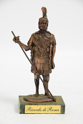Heavy Metal Figurine of a Roman Soldier on a Marble Plinth (SL160)