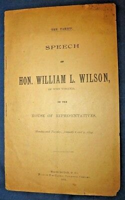 1894 Printed Speech of Hon. William L. Wilson to U.S. House of Representative